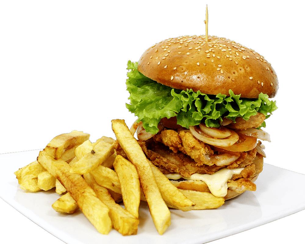 Hamburguesa de pollo apanado
